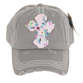 K&B Trading, Floral Cross, Adjustable Distressed Cap, Light Gray