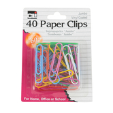 Charles Leonard, Jumbo Vinyl Coated Paper Clips, Gem, Assorted Colors, 1 Inch, 40 Count