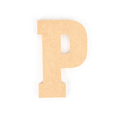 Woodpile Fun, MDF Natural Wood Color Letter - P, 5 inches, Brown