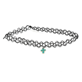 Faith Spark, Stretch Choker with Cross Charm, Zinc Alloy and Plastic, Black, 12 Inches