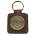 Christian Art Gifts, Ephesians 2:8, In Christ Alone Keyring in Tin, LuxLeather with Metal, Gold, 3 x 2 inches