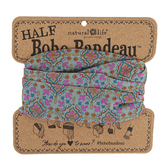 Natural Life, Floral Stamp Half Boho Bandeau, Polyester, Turquoise & Orange, 9 x 10 inches