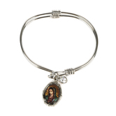 H.J. Sherman, Our Lady of Guadalupe Double Strand Bangle Charm Bracelet, Rhodium Plated, Silver