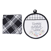 Brownlow Gifts, Friends Gather Here Hot Pad and Towel Set, Cotton, Black and White, 9 inches