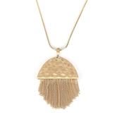 His Truly, Tassel Necklace, Zinc Alloy, Satin Gold, 36 Inch Chain