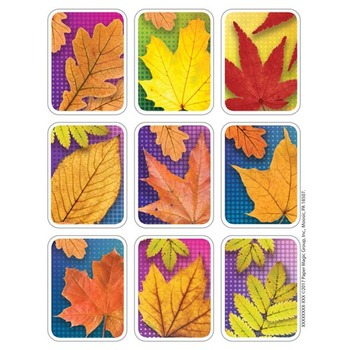 Eureka, Leaves Giant Stickers, 1.30 x 1.75 inches, Multi-Colored, Pack of 36