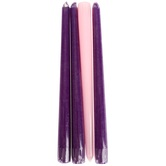Advent Taper Candle Set, Purple and Pink, 10 inches, 4 Candles