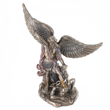 Pacific Trading, Saint Michael with Sword Drawn Figurine, Resin, Bronze, 6 x 5 inches