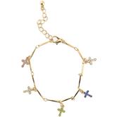 Modern Grace, Colorful Crosses Charm Bracelet, Zinc Alloy, Gold