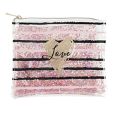 Love Glitter Heart & Striped Travel Pouch, 6 1/2 x 7 1/2 inches