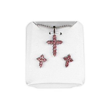 H.J. Sherman, Cross With Pink CZ Stones, Pendant and Stud Earring Set, Silver Plated