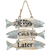 Gone Fishin' Hanging Wall Decor, Wood and Galvanized Metal, 13 1/2 x 16 x 3/4 inches