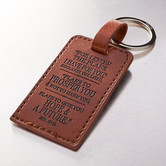 Christian Art Gifts, Jeremiah 29:11 I Know the Plans, Faux Leather Key Chain, Brown