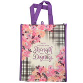 Renewing Faith, Proverbs 31:25 Strength and Dignity Tote Bag, Black/White Plaid and Purple, 12 x 10 x 4 inches