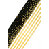 Glimmer of Gold Collection, Wide Double-Sided Border Trim, 38 Feet, Black, Gold, White Confetti and Stripes