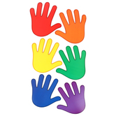 Renewing Minds, Colored Hands Large Cutouts, Assorted Colors, 6 x 6 inches, 36 Pieces