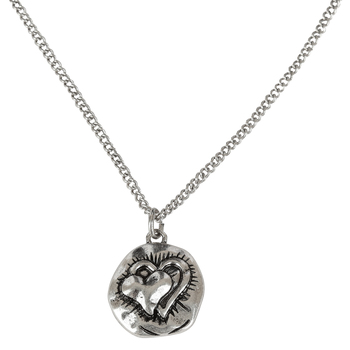 Bella Grace, Embossed Double Heart Pendant Necklace, Zinc Alloy, Silver, 20 inches