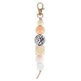 Iron Orchid Studio, Cow Print Wood Bead Keychain, Pastels and Gold Metal, 1 x 6.50 Inches