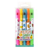 Scentco, Sketch & Sniff Scented Gel Crayons, 1 Each of 5 Colors & Scents