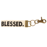 Natural Life, Blessed Key Fob, Canvas and Metal, 5 x 1 1/4 Inches