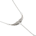 Bella Grace, Angel Wings with Drop Stone Pendant Necklace, Zinc Alloy and Glass, Silver, 20 inches