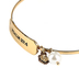 Modern Grace, Psalm 27:4 ID Bangle with Pearl and Flower Charms Bracelet, Gold