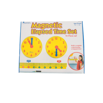 Learning Resources, Magnetic Elapsed Time Set with Activity Guide, 14 Pieces, Grades 2 and up