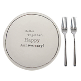 Demdaco, Meaningful Moments, Better Together Happy Anniversary Plate & Fork Set, 8 inches, 3 Pieces