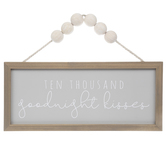 Goodnight Kisses Beaded Wall Decor, MDF, Brown and Gray, 10 x 16 x 1 3/16 inches