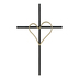 Wall Cross with Heart, Iron, Black and Gold, 19 3/4 x 12 1/2 x 3/4 inches
