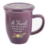 Abbey and CA Gift, Friend Coffee Mug with Coaster, Purple, 14 Ounces