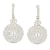 Mercy Adorned, Proverbs 3:5-6 Hoop with Round Medallion Dangle Earrings, Zinc Alloy, Silver