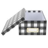The Paper Studio, Photo Storage Box, Black and White Buffalo Check, 11 x 7-1/2 x 4-1/4 Inches