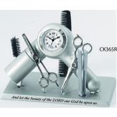 Lifelines, Hair Stylist's Analog Hair Salon Clock, Silver, 3 3/4 x 2 3/4 inches