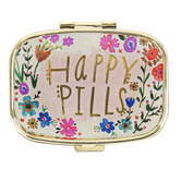 Natural Life, Happy Pills Floral Pill Box, Pink & Gold, 2 1/4 x 2 x 1 1/4 inches