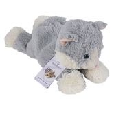 Warmies, Laying Down Cat Stuffed Animal, Plush, Gray, 13 inches
