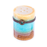 Beach House 3-Layer Mottled Pillar Candle, 3 x 4 inches