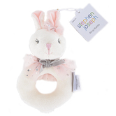Stephen Joseph, Bunny Plush Ring Rattle, White & Pink, 6 x 4 x 1 1/2 inches