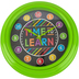 Chalk Talk Collection, Wall Clock, Round, Multi-Colored Black with Green Frame, 12 Inches