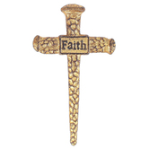 Faith Gold Nails Wall Cross, Battered Metal, 7 7/8 x 4 7/16 x 5/8 inches