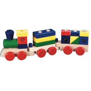 Melissa & Doug, Wooden Stacking Train, Ages 2 to 4 Years Old, 18 Pieces