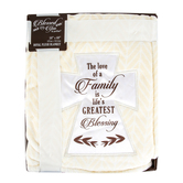 Pavilion Gift, The Love Of A Family Blanket, Plush Royal Polyester, Cream, 50 x 60 inches