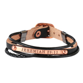 Soul Anchor, Jeremiah 29:11 Multi-Strand Bracelet, Zinc Alloy and Leather, Copper and Black