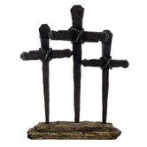 Calvary's Crosses Table Cross, Resin, Bronze, 7 x 9 inches