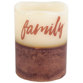 Family Scented LED Pillar Candle, 3 x 4 Inches