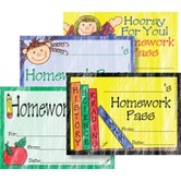 Top Notch Teacher Products, Homework Passes, 3.5 x 2.5 Inches, Assorted Designs, Pack of 32