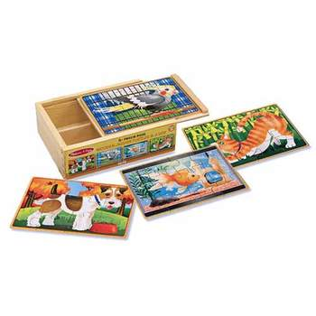 Melissa & Doug, Pets Boxed Wooden Jigsaw Puzzles, Ages 3 to 6 Years Old, Set of 4, 48 Pieces