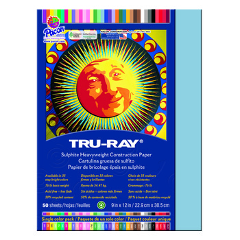 Tru-Ray® Sulphite Construction Paper, 9 x 12 inches, Sky Blue, 50 Sheets