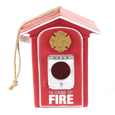 Spoontiques, Fire Box Birdhouse, Resin, Red, White, Silver, and Gold, 6-1/4 x 8 x 4 Inches