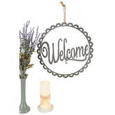 Welcome Scalloped Metal Wall Decor, Galvanized Metal, Silver, 16 inches